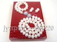 9mm white flat freshwater pearl necklace,bracelet and earring set FNT220
