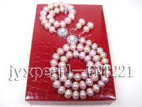 9mm lavender flat freshwater pearl necklace,bracelet and earring set FNT221