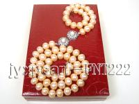 9mm pink flat freshwater pearl necklace,bracelet and earring set FNT222