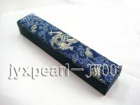 Dark-blue Silk-Covered Necklace Box with Dragon and Peony Patterns JW007