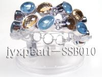 Sterling Silver Bracelet Inlaid With Lemon Quartz and Blue Gemstone SSB010