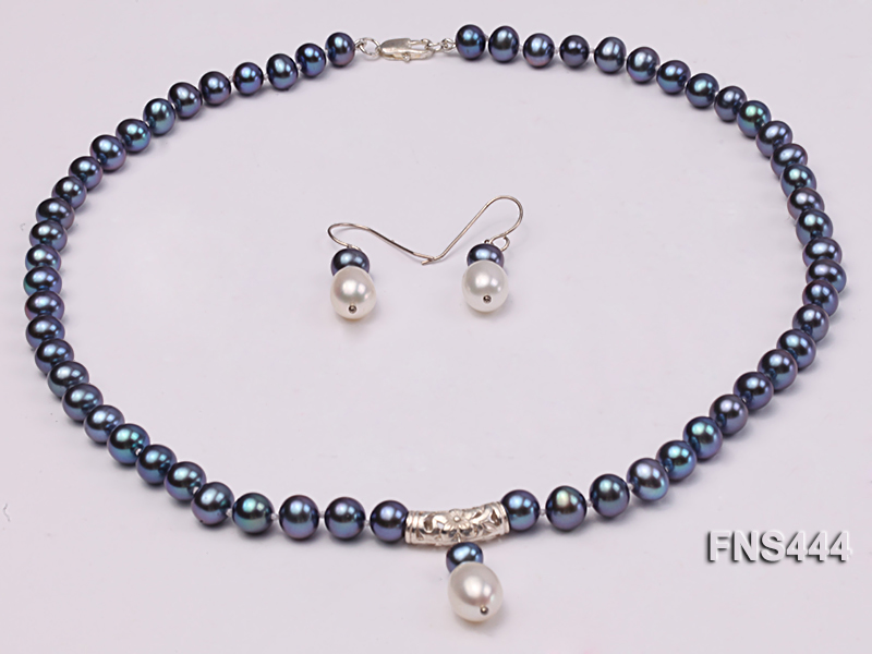 8mm black round freshwater pearl with sterling silver pendant necklace with dangle earrings big Image 1
