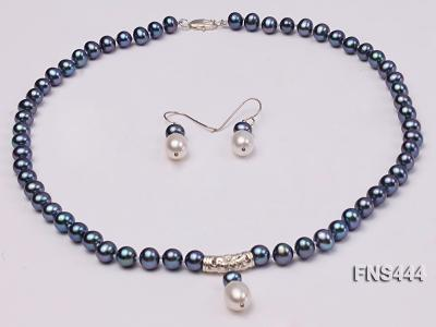 8mm black round freshwater pearl with sterling silver pendant necklace with dangle earrings FNS444 Image 1