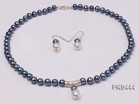 8mm black round freshwater pearl with sterling silver pendant necklace with dangle earrings FNS444