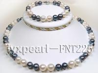 8.5-9mm white and black round freshwater pearl necklace and bracelet set  FNT225