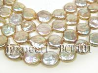 wholesale 13mm pink flat round pearl strings  BCW101