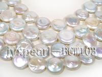wholesale 17mm white flat round pearl strings  BCW103