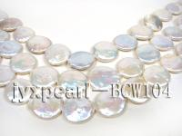 wholesale 17-20mm white flat round pearl strings  BCW104