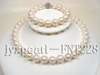 12mm white round freshwater pearl necklace and bracelet set FNT228