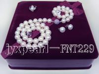 12mm white freshwater pearl necklace,bracelet and earring set FNT229