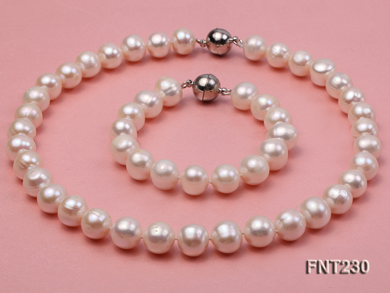 11.5-13.5 mm White Round Freshwater Pearl Necklace and Bracelet Set  big Image 1