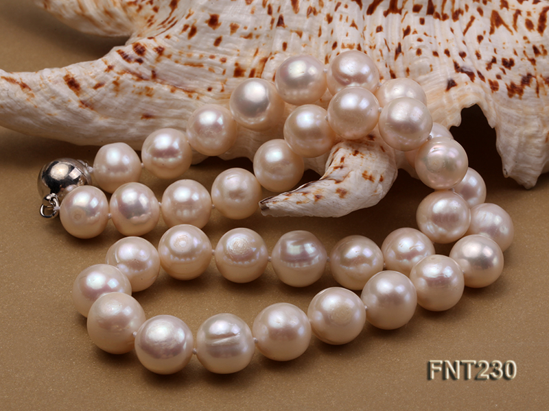 11.5-13.5 mm White Round Freshwater Pearl Necklace and Bracelet Set  big Image 4