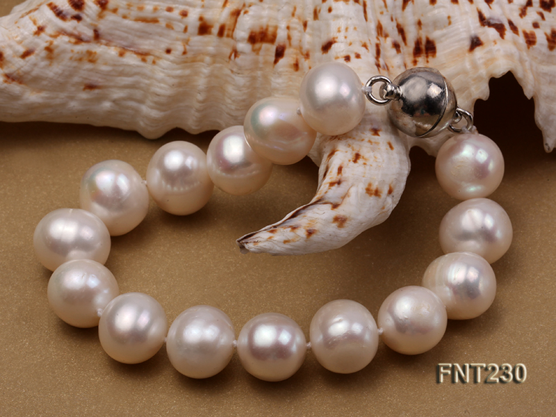 11.5-13.5 mm White Round Freshwater Pearl Necklace and Bracelet Set  big Image 5