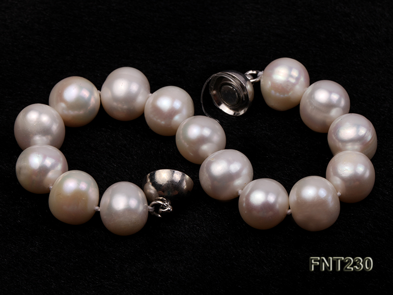 11.5-13.5 mm White Round Freshwater Pearl Necklace and Bracelet Set  big Image 6
