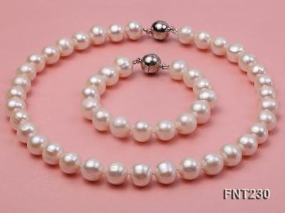 11.5-13.5 mm White Round Freshwater Pearl Necklace and Bracelet Set  FNT230 Image 1