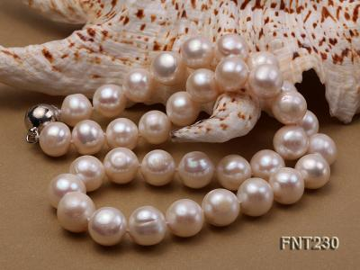 11.5-13.5 mm White Round Freshwater Pearl Necklace and Bracelet Set  FNT230 Image 4