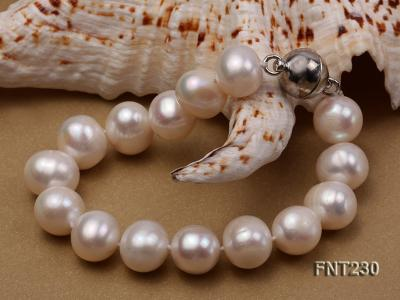 11.5-13.5 mm White Round Freshwater Pearl Necklace and Bracelet Set  FNT230 Image 5