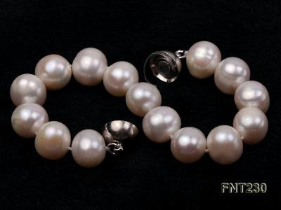 11.5-13.5 mm White Round Freshwater Pearl Necklace and Bracelet Set  FNT230 Image 6