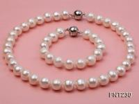 11.5-13.5 mm White Round Freshwater Pearl Necklace and Bracelet Set  FNT230