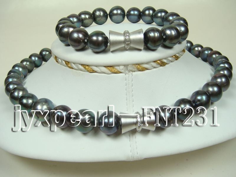 12mm black round freshwater pearl necklace and bracelet set  big Image 3