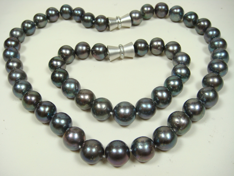 12mm black round freshwater pearl necklace and bracelet set  big Image 4