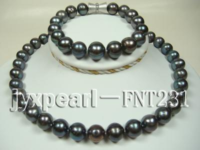 12mm black round freshwater pearl necklace and bracelet set  FNT231 Image 1