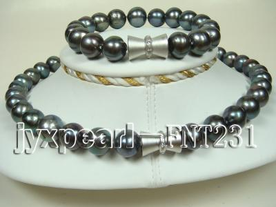 12mm black round freshwater pearl necklace and bracelet set  FNT231 Image 3