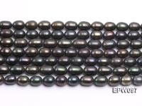 Wholesale 7X10mm Black Rice-shaped Freshwater Pearl String EPW097