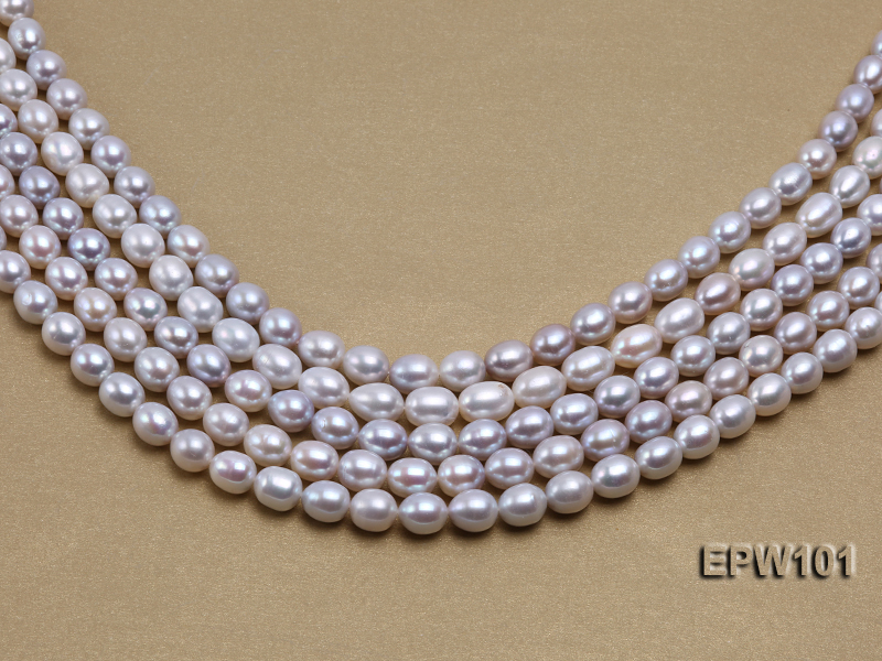 Wholesale 8X10mm Natural Rice-shaped Freshwater Pearl String big Image 2