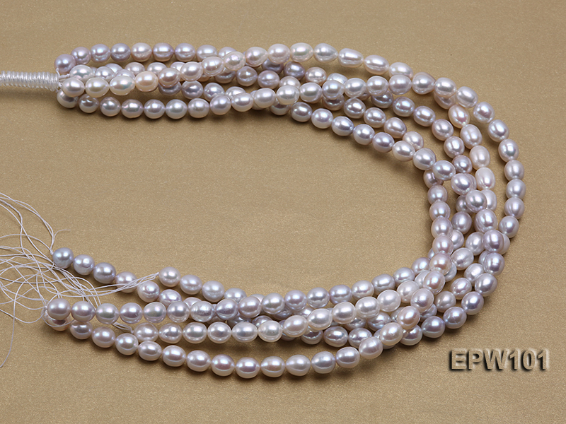 Wholesale 8X10mm Natural Rice-shaped Freshwater Pearl String big Image 3