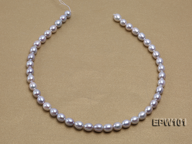 Wholesale 8X10mm Natural Rice-shaped Freshwater Pearl String big Image 4