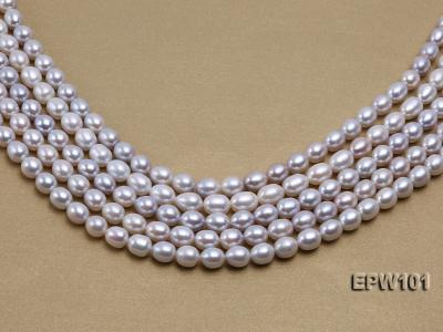 Wholesale 8X10mm Natural Rice-shaped Freshwater Pearl String EPW101 Image 2