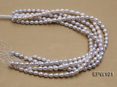 Wholesale 8X10mm Natural Rice-shaped Freshwater Pearl String EPW101 Image 3