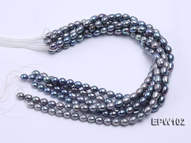 Wholesale A-grade 8x12mm Black Rice-shaped Freshwater Pearl String big Image 4
