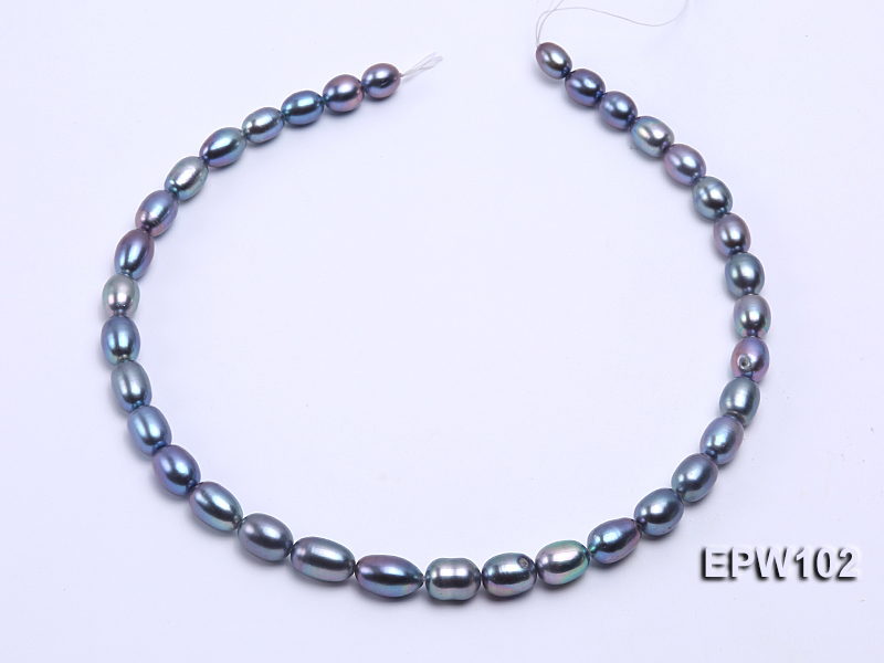 Wholesale A-grade 8x12mm Black Rice-shaped Freshwater Pearl String big Image 3