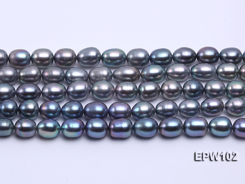 Wholesale A-grade 8x12mm Black Rice-shaped Freshwater Pearl String big Image 1