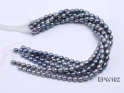 Wholesale A-grade 8x12mm Black Rice-shaped Freshwater Pearl String EPW102 Image 4