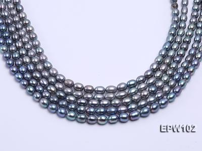 Wholesale A-grade 8x12mm Black Rice-shaped Freshwater Pearl String EPW102 Image 2