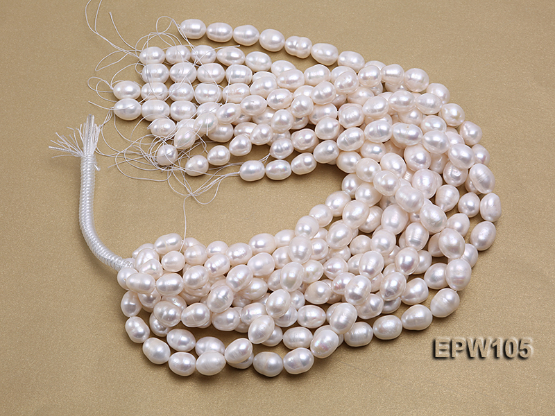 Wholesale Super-size 12.5x15mm Classic White Rice-shaped Freshwater Pearl String big Image 2