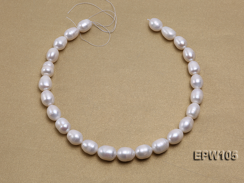 Wholesale Super-size 12.5x15mm Classic White Rice-shaped Freshwater Pearl String big Image 3