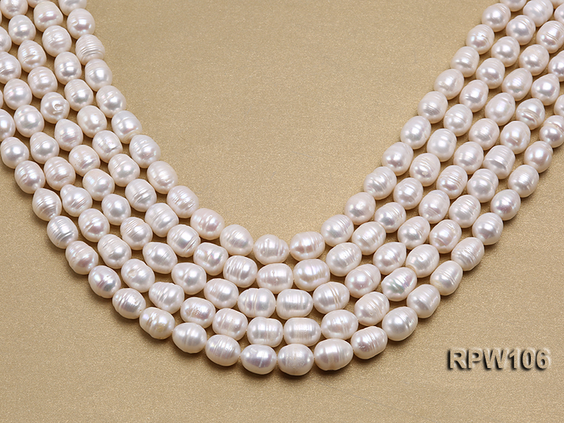 Wholesale A-grade 10.5x12.5mm White Rice-shaped Pearl String big Image 1