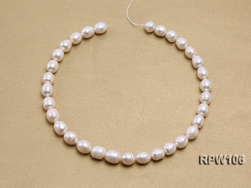 Wholesale A-grade 10.5x12.5mm White Rice-shaped Pearl String big Image 3