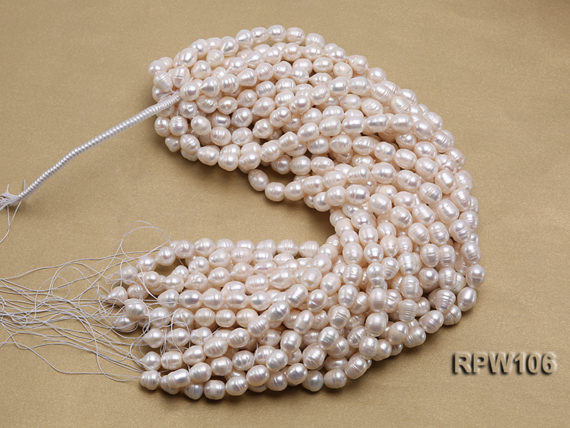 Wholesale A-grade 10.5x12.5mm White Rice-shaped Pearl String big Image 4