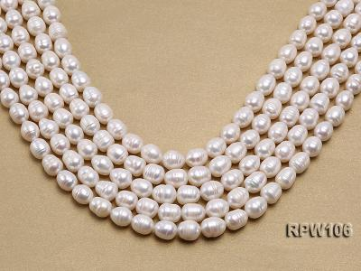 Wholesale A-grade 10.5x12.5mm White Rice-shaped Pearl String EPW106 Image 1