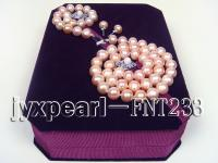 10mm pink round freshwater pearl necklace,bracelet and earring set FNT233