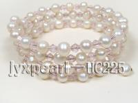 3 row white freshwater pearl and pink crystal bracelet HC225