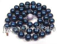 9-9.5mm black with blue freshwater pearl single necklace  FNS450