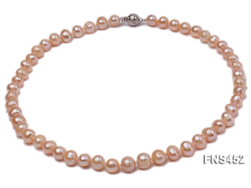 7.5-8.3mm Natural Pink Rice Freshwater Pearl Necklace big Image 1
