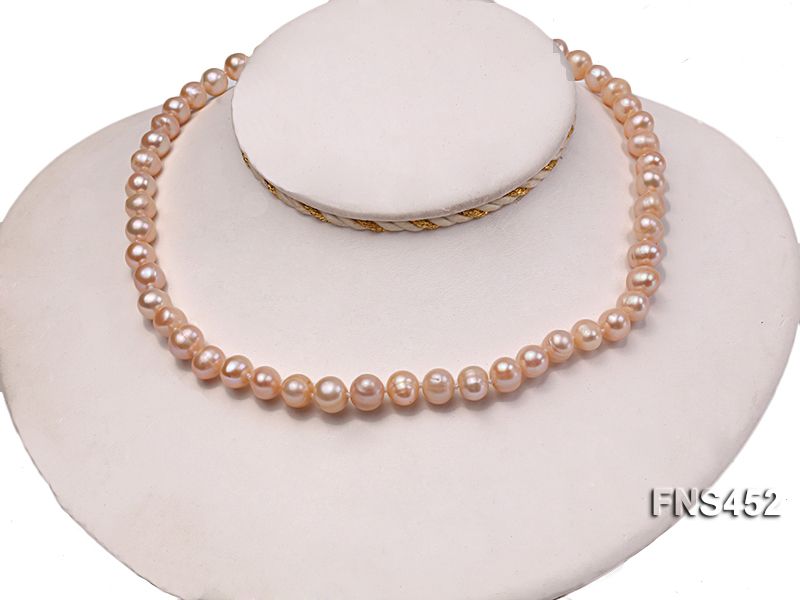 7.5-8.3mm Natural Pink Rice Freshwater Pearl Necklace big Image 2