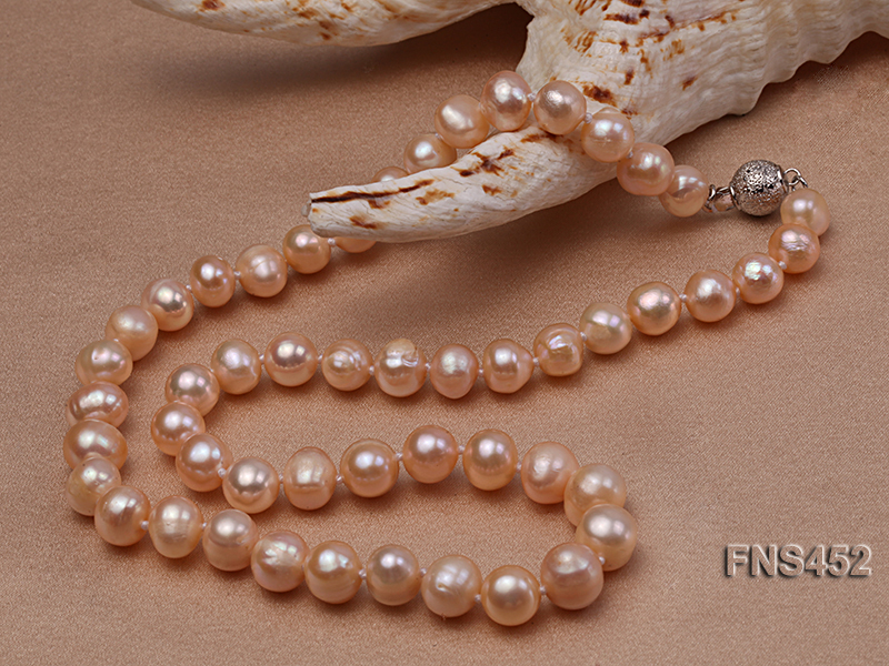 7.5-8.3mm Natural Pink Rice Freshwater Pearl Necklace big Image 3
